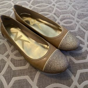 Anne Klein Sport Tan Leather Flats w/ Gold Glitter